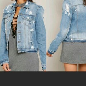 Ci Sono distressed four pocket denim jacket medium